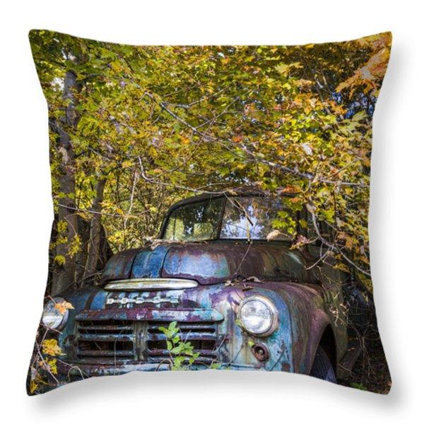 Old Dodge Throw Pillow by Debra and Dave Vanderlaan