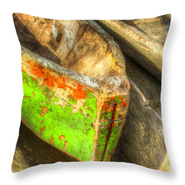 Old Dug-out Canoes Throw Pillow by Debra and Dave Vanderlaan