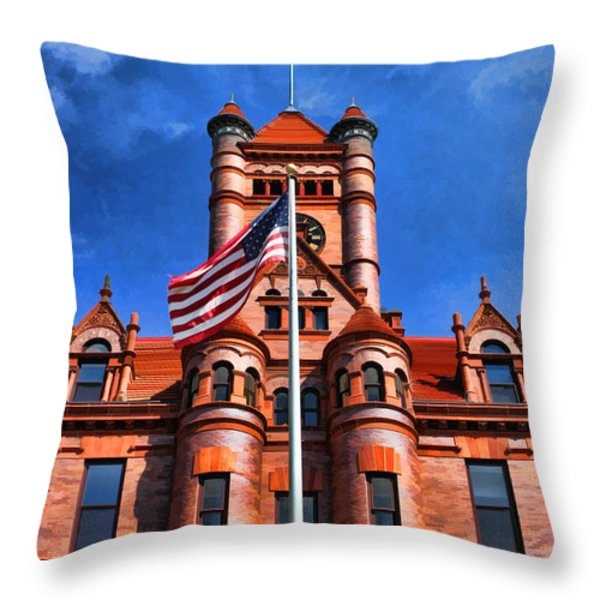 Old Dupage County Courthouse Flag Throw Pillow by Christopher Arndt