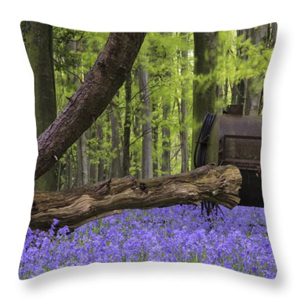 Old Farm Machinery In Vibrant Bluebell  Spring Forest Landscape Throw Pillow by Matthew Gibson