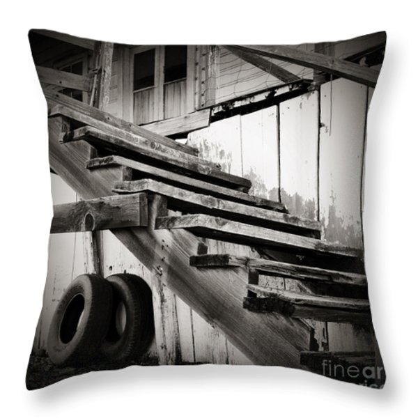 Old Farm Stairs Throw Pillow by Charmian Vistaunet