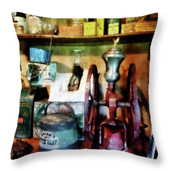 Old-fashioned Coffee Grinder Throw Pillow by Susan Savad