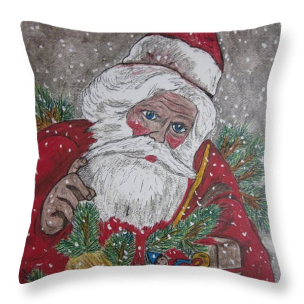 Old Fashioned Santa Throw Pillow by Kathy Marrs Chandler