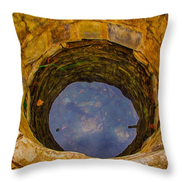 Old Fashioned Well Abstract Throw Pillow by Omaste Witkowski