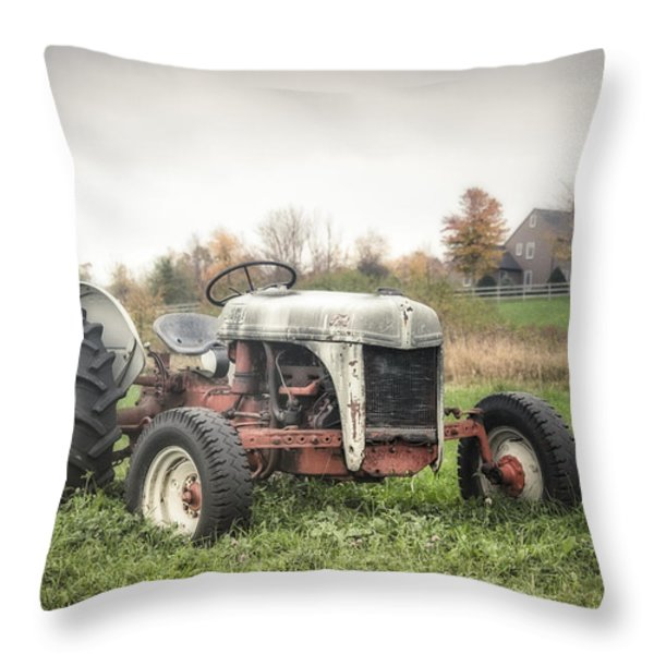Old Ford Tractor And Farm House Throw Pillow by Gary Heller