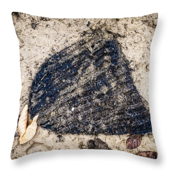 Old Forgotten Wool Cap Lying On The Ground Throw Pillow by Matthias Hauser