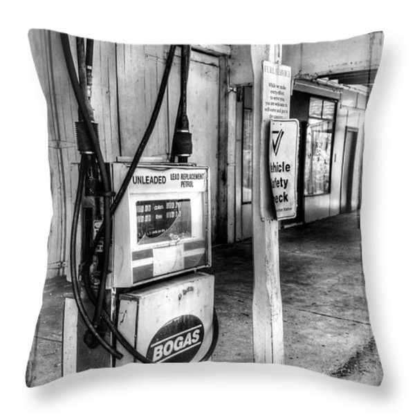Old Fuel Pump - Black And White Throw Pillow by Kaye Menner