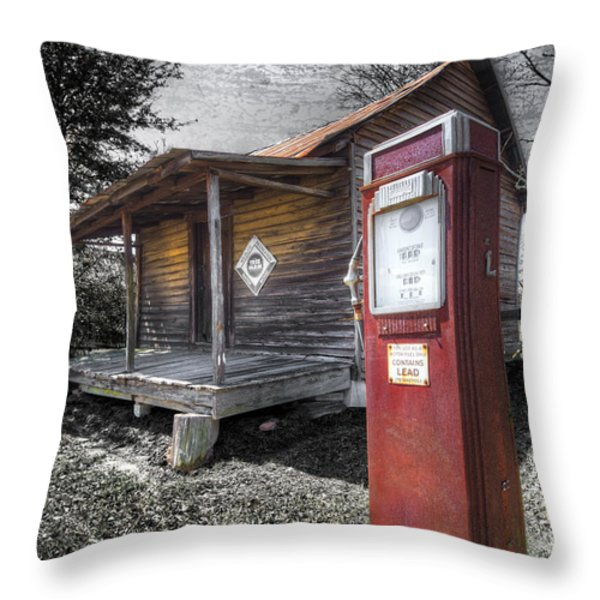 Old Gas Pump Throw Pillow by Debra and Dave Vanderlaan