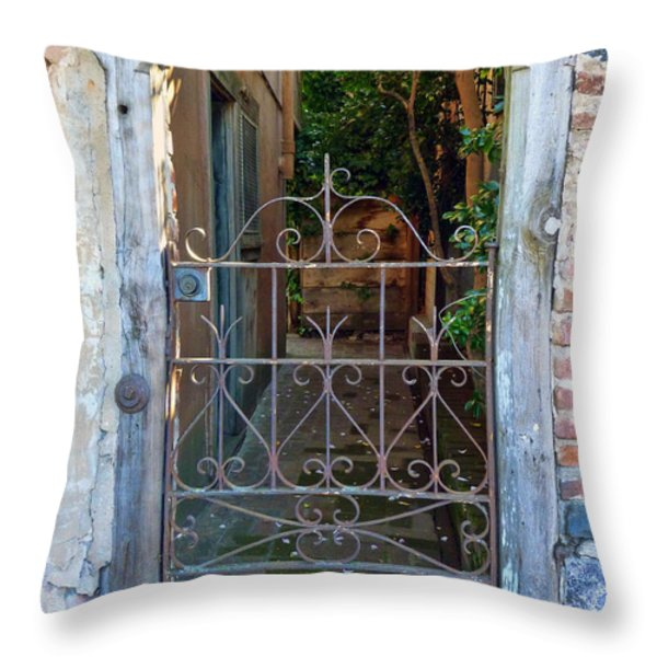 Old Gate Throw Pillow by Lynn Bolt