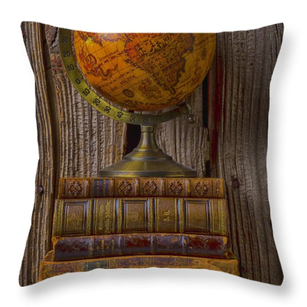 Old Globe On Old Books Throw Pillow by Garry Gay