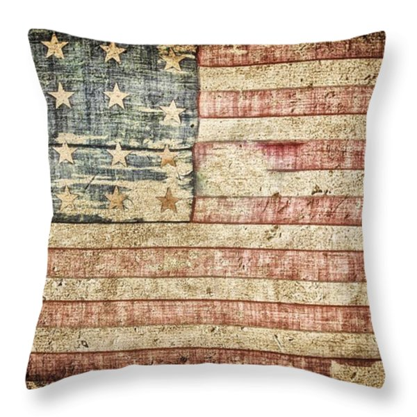 Old Glory 20 Strars Throw Pillow by Todd and candice Dailey