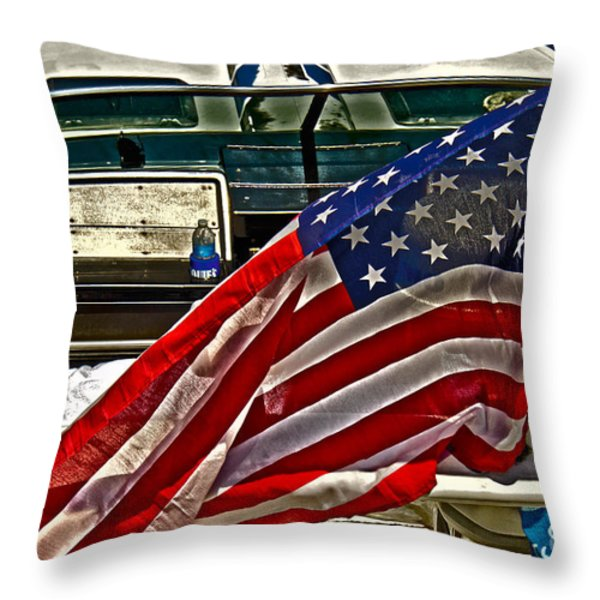 Old Glory And The Bay Throw Pillow by Tom Gari Gallery-Three-Photography