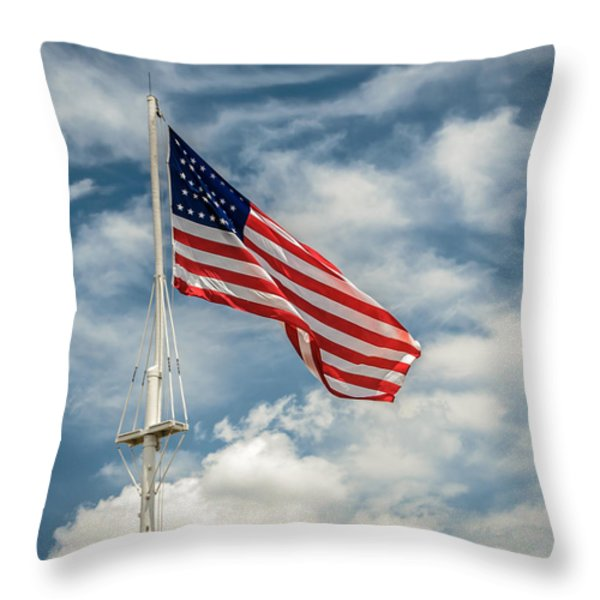 Old Glory Throw Pillow by James Barber