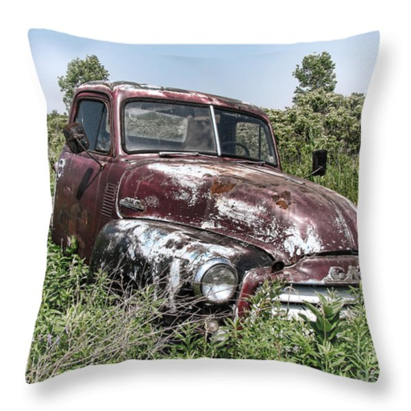 Old Gmc Truck Throw Pillow by Olivier Le Queinec