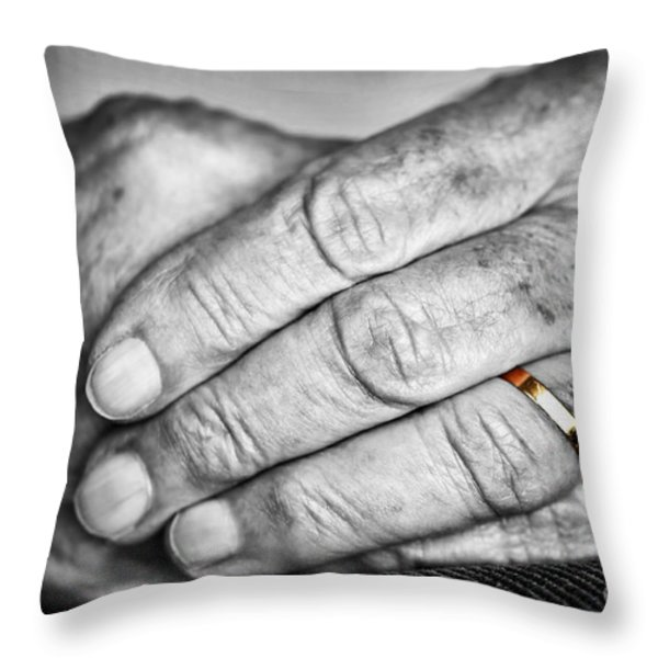 Old Hands With Wedding Band Throw Pillow by Elena Elisseeva