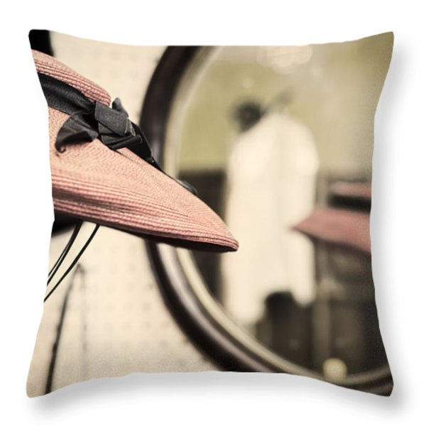 Old Hat Throw Pillow by Heather Applegate