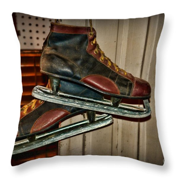 Old Hockey Skates Throw Pillow by Paul Ward