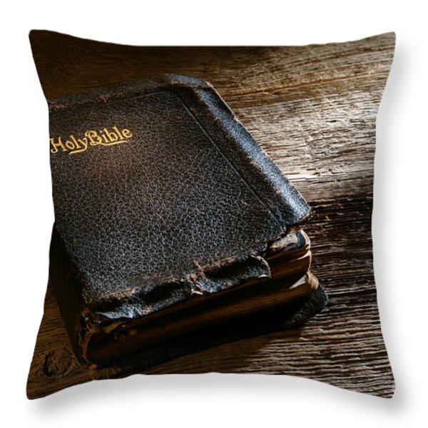 Old Holy Bible Throw Pillow by Olivier Le Queinec