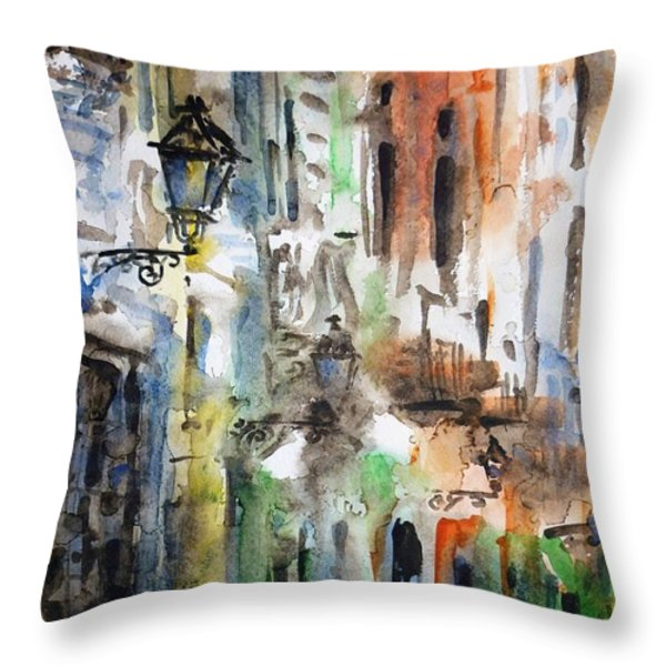 Old Houses of San Juan Throw Pillow by Zaira Dzhaubaeva