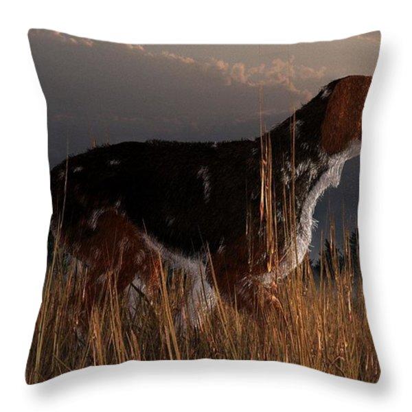 Old Hunting Dog Throw Pillow by Daniel Eskridge