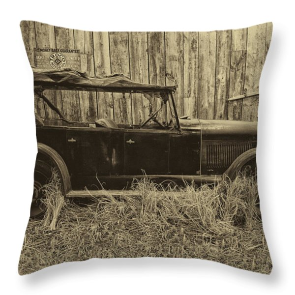Old Jalopy Behind The Barn Throw Pillow by Thomas Woolworth