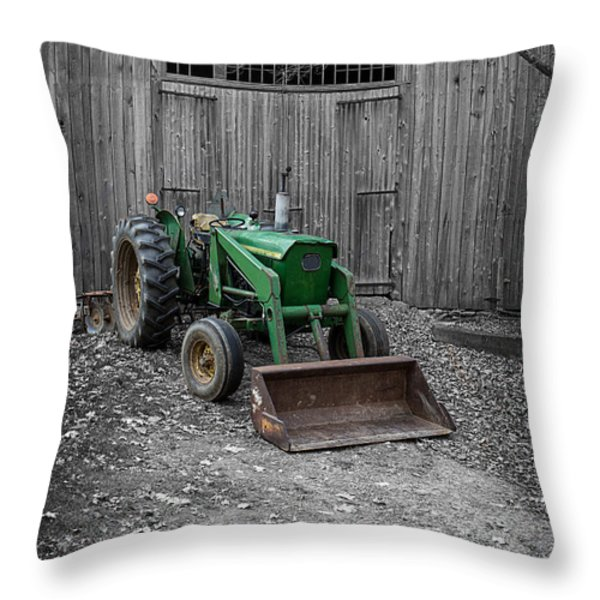 Old John Deere Tractor Throw Pillow by Edward Fielding