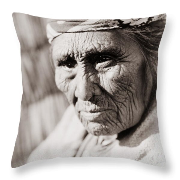 Old Klamath Woman Circa 1923 Throw Pillow by Aged Pixel