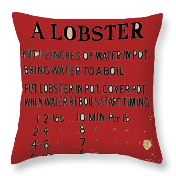 Old Lobster Recipe Sign Throw Pillow by AdSpice Studios