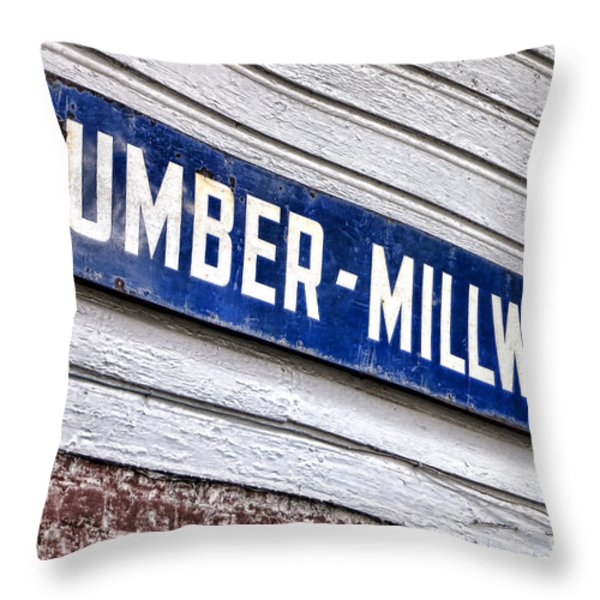 Old Lumberyard Sign Throw Pillow by Olivier Le Queinec