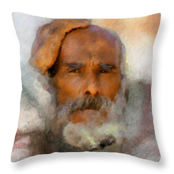 Old Man Throw Pillow by Bob Galka