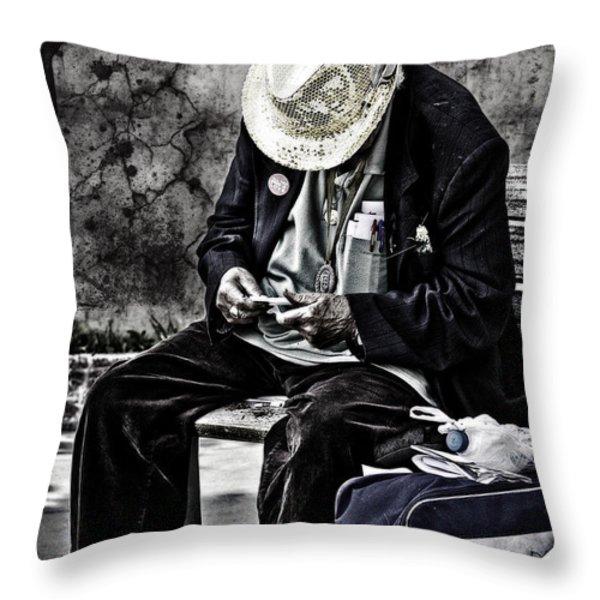 Old Man Throw Pillow by Erik Brede