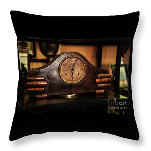 Old Mantelpiece Clock Throw Pillow by Kaye Menner