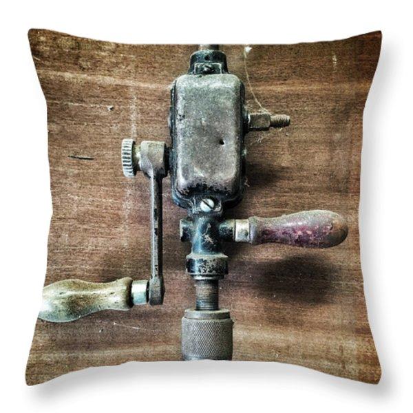 Old Manual Drill Throw Pillow by Carlos Caetano
