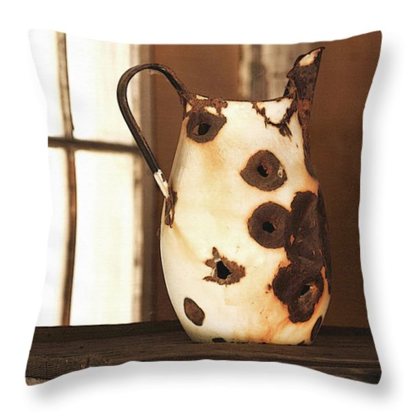 Old Metal Pitcher Throw Pillow by Art Block Collections