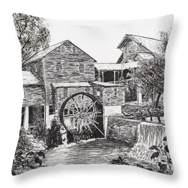 Old Mill-pigeon Forge Throw Pillow by Judy Sprague