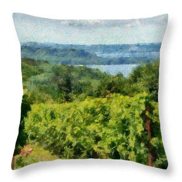 Old Mission Peninsula Vineyard Throw Pillow by Michelle Calkins