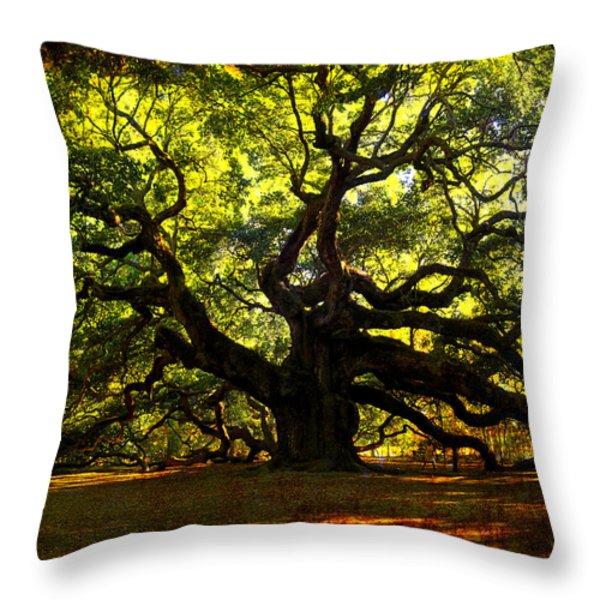 Old old Angel Oak in Charleston Throw Pillow by Susanne Van Hulst