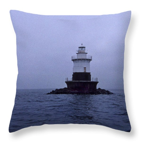 OLD ORCHARD LIGHTHOUSE Throw Pillow by Skip Willits