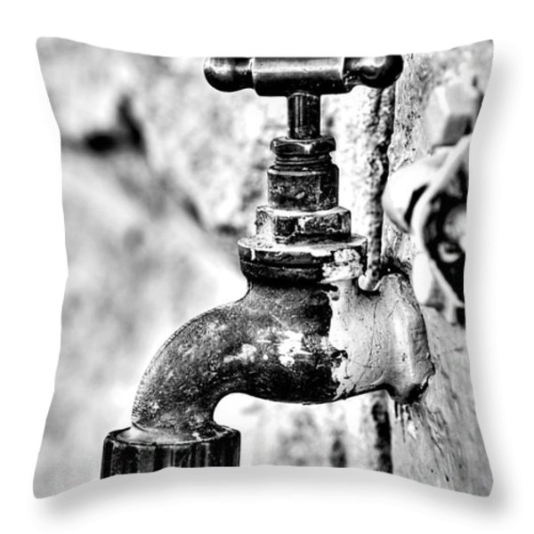 Old Outdoor Tap - Black And White Throw Pillow by Kaye Menner