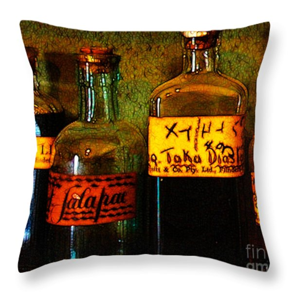 Old Pharmacy Bottles - 20130118 v1b Throw Pillow by Wingsdomain Art and Photography