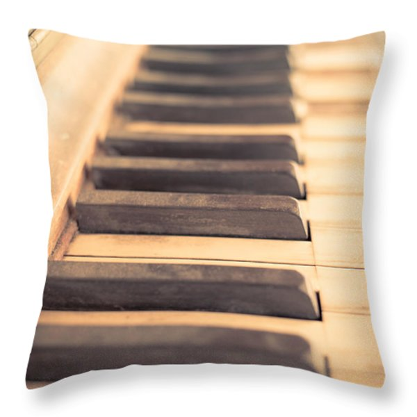 Old Piano Keys Throw Pillow by Edward Fielding