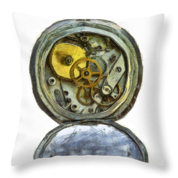 Old Pocket Watch Throw Pillow by Michal Boubin