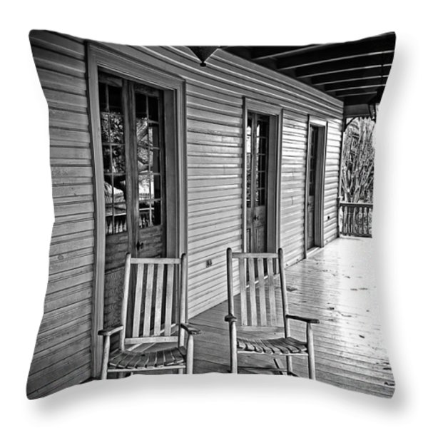 Old Porch Rockers Throw Pillow by Perry Webster