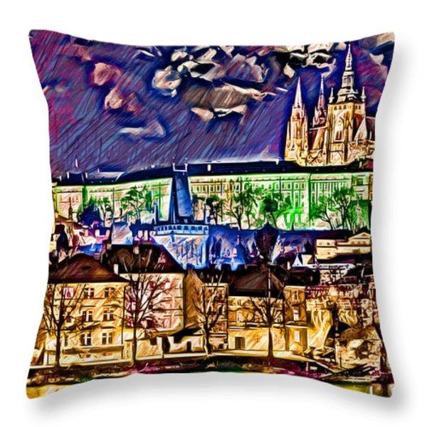 Old Prague Magic - Wallpaper Throw Pillow by Daniel Janda