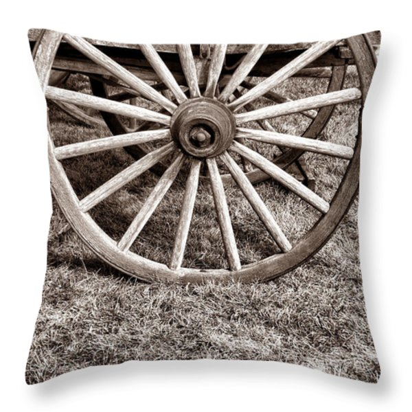 Old Prairie Schooner Wheel Throw Pillow by American West Legend By Olivier Le Queinec
