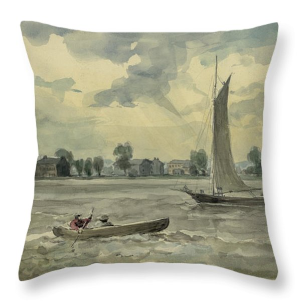 Old Quarantine Station circa 1857 Throw Pillow by Aged Pixel