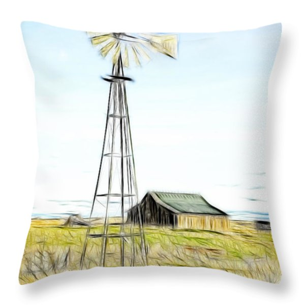 Old Ranch Windmill Throw Pillow by Steve McKinzie