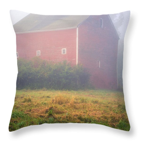 Old Red Barn in Fog Throw Pillow by Edward Fielding