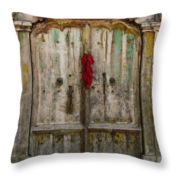 Old Ristra Door Throw Pillow by Kurt Van Wagner