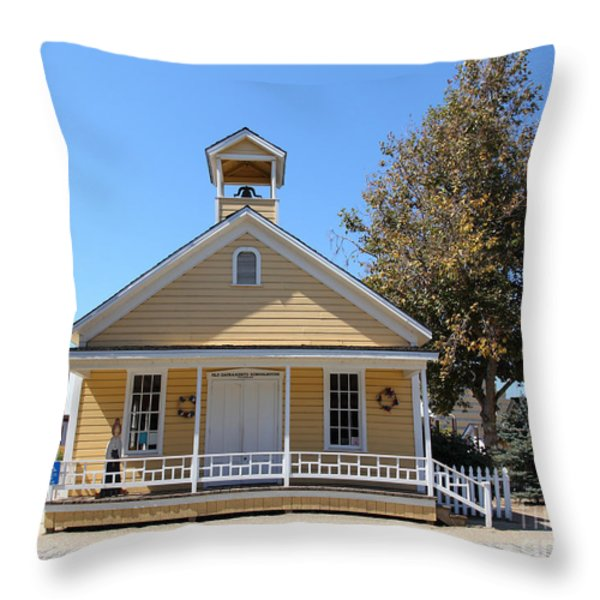 Old Sacramento California Schoolhouse 5D25541 Throw Pillow by Wingsdomain Art and Photography